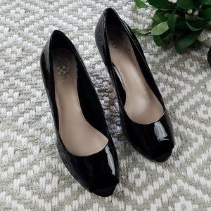 Vince Camuto 8B Black Shiny Peep Toe Heels